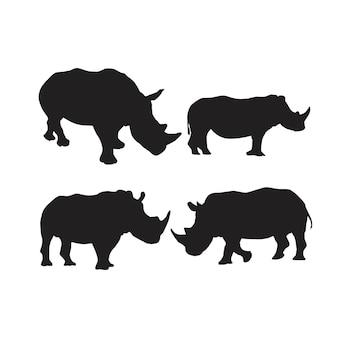 Colección de siluetas de animales de rinoceronte