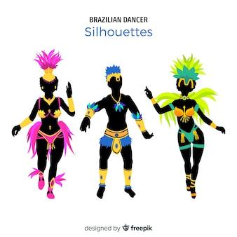 Colección de siluetas de bailarines del carnaval de brasil