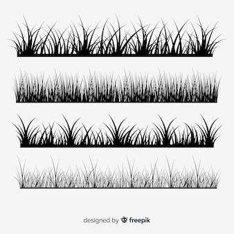 Colección de siluetas de bordes de hierba