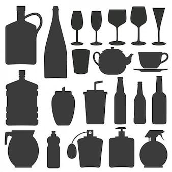Colección de siluetas de botellas y vasos