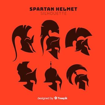 Colección de siluetas de cascos espartanos
