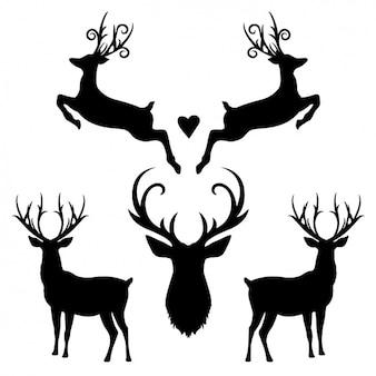 Colección de siluetas de ciervo