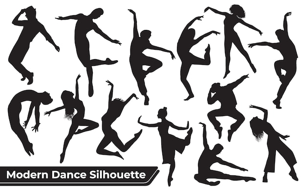 Colección de siluetas de danza moderna de mujer en diferentes poses