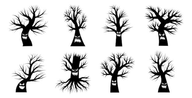 Colección de siluetas dibujadas de árboles sin hojas y follaje. caras embrujadas de halloween en el árbol. sonrisas aterradoras y rostro asustado. ilustración de vector en blanco y negro.