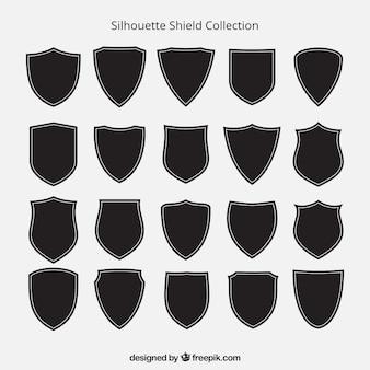 Colección de siluetas de escudos