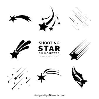 Colección de siluetas de estrellas fugaces