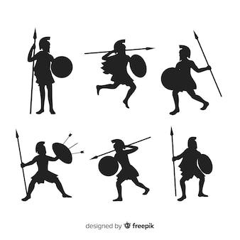 Colección de siluetas de guerreros espartanos
