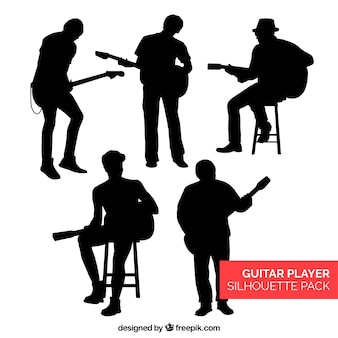 Colección de siluetas de guitarrista