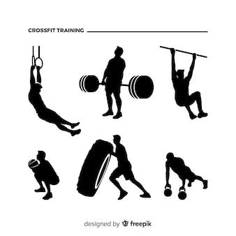 Colección de siluetas de hombre entrenando crossfit