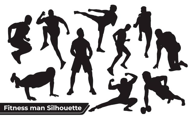 Colección de siluetas de hombre fitness en diferentes posiciones