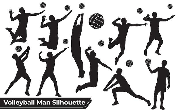 Colección de siluetas de hombre de jugador de voleibol en diferentes poses