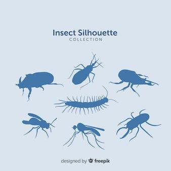 Colección de siluetas de insectos en azul
