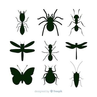 Colección de siluetas de insectos en negro
