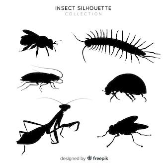 Colección siluetas de insectos planas