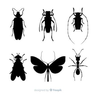 Colección de siluetas de insectos