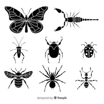 Colección siluetas insectos