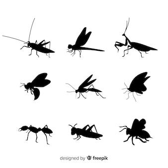 Colección siluetas de insectos