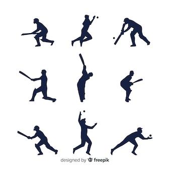 Colección de siluetas de jugadores de cricket