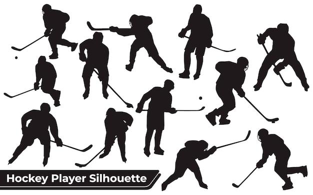 Colección de siluetas de jugadores de hockey en diferentes poses