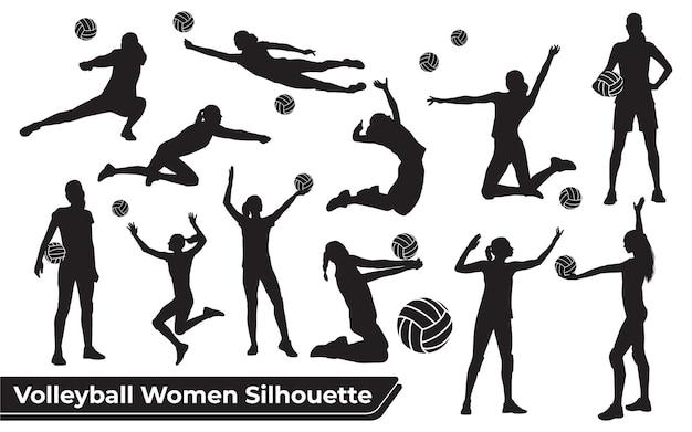 Colección de siluetas de mujer de jugador de voleibol en diferentes poses