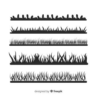 Colección de siluetas negros de cenefas de hierba