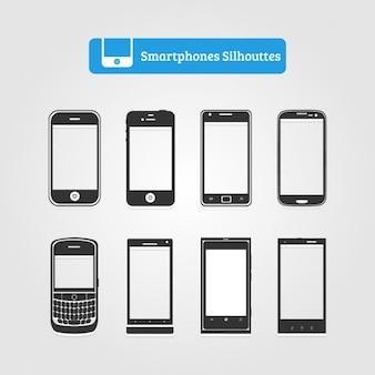 Colección de siluetas de smartphones