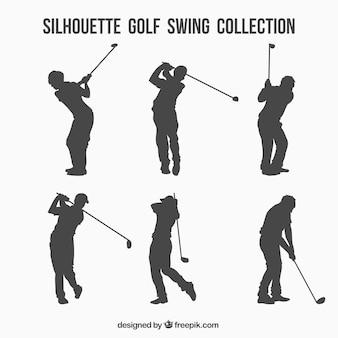 Colección de siluetas de swings de golf