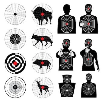Colección de siluetas de tiro al blanco y objetivo