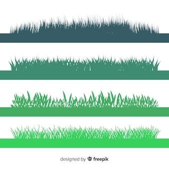 Colección de siluetas verdes de cenefas de hierba