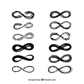 Colección de simbolo de infinito en color negro