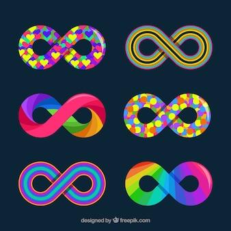 Colección de simbolo de infinito con colores