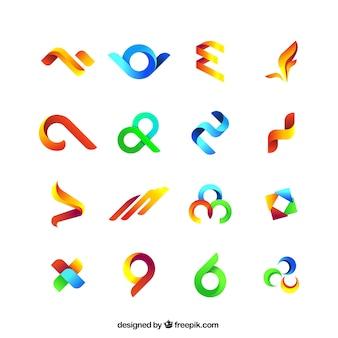 Colección de símbolos abstractos de colores