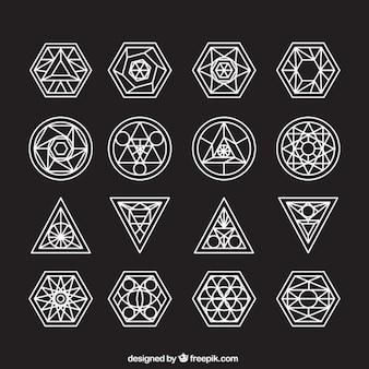 Colección de símbolos abstractos con contorno