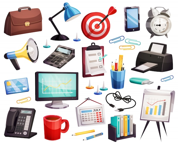 Colección de símbolos de accesorios para oficinas de negocios