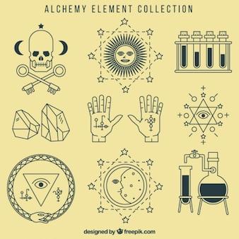 Colección de símbolos de alquímia