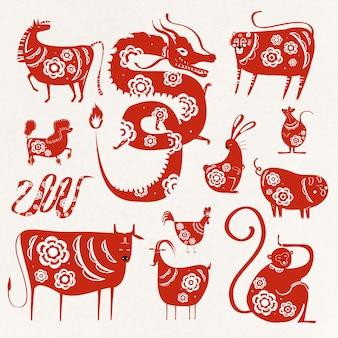 Colección de símbolos de animales del zodíaco del año nuevo chino