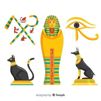 Colección de símbolos del antiguo egipto con diseño plano