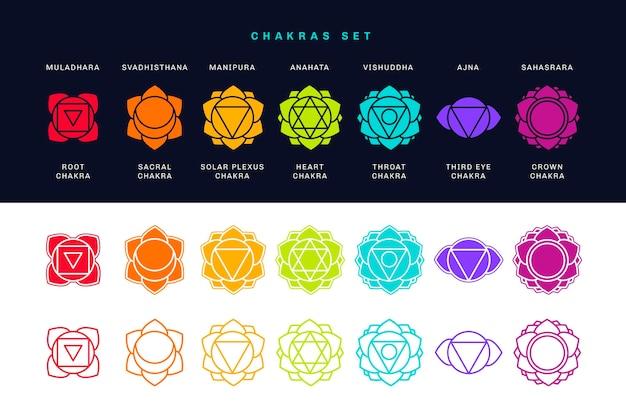 Colección de símbolos coloridos chakras