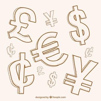 Colección de símbolos de dinero