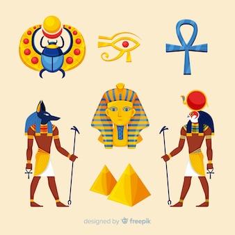 Colección de símbolos y dioses egipcios con diseño plano