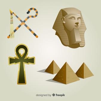 Colección de símbolos y dioses egipcios con diseño realista