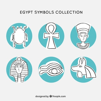 Colección de símbolos y dioses de egipto dibujados a mano