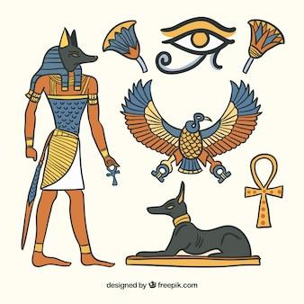 Colección de símbolos y dioses egiptos en estilo dibujo a mano