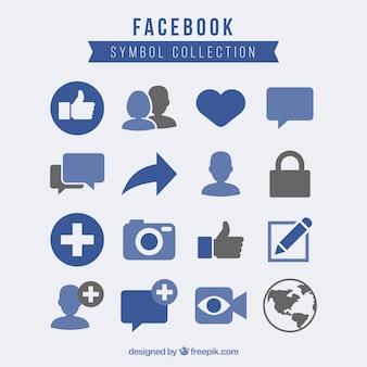 Colección de símbolos de facebook