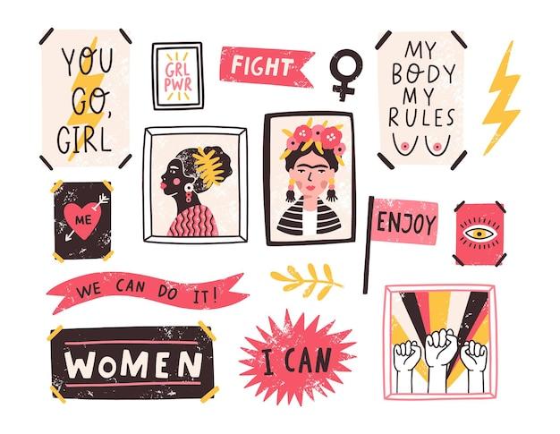 Colección de símbolos del feminismo y el movimiento de positividad corporal
