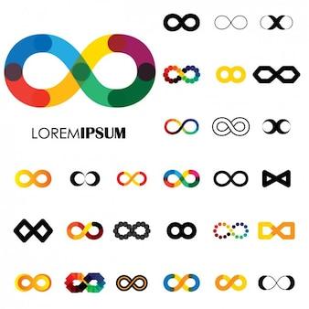 Colección de símbolos de infinito a color