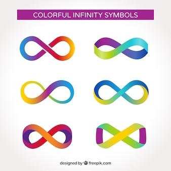 Colección de símbolos de infinito coloridos con diseño plano