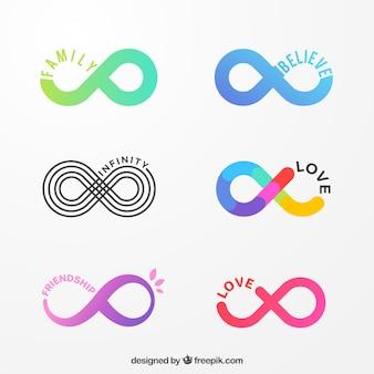 Colección de símbolos del infinito coloridos
