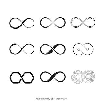 Colección de símbolos del infinito en negro