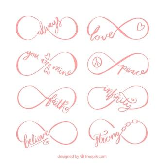 Colección de símbolos de infinito con palabra